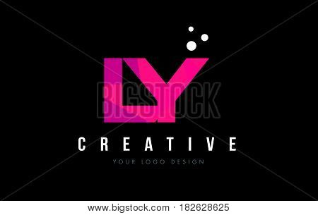 Ly L Y Letter Logo With Purple Low Poly Pink Triangles Concept