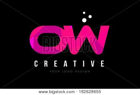 Ow O W Letter Logo With Purple Low Poly Pink Triangles Concept