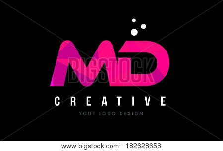 Md M D Letter Logo With Purple Low Poly Pink Triangles Concept