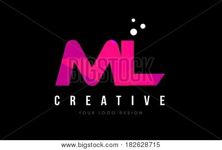 Ml M L Letter Logo With Purple Low Poly Pink Triangles Concept