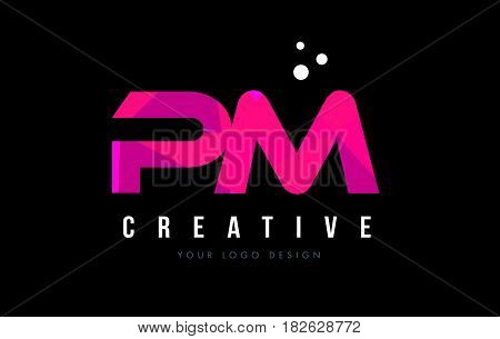 Pm P L Letter Logo With Purple Low Poly Pink Triangles Concept