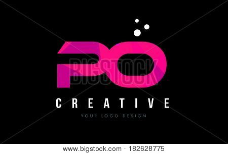 Po P O Letter Logo With Purple Low Poly Pink Triangles Concept