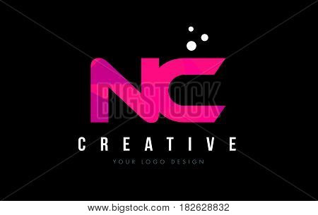 Nc N C Letter Logo With Purple Low Poly Pink Triangles Concept