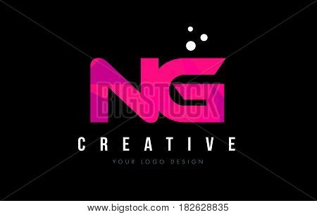 Ng N G Letter Logo With Purple Low Poly Pink Triangles Concept