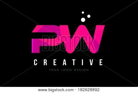 Pw P W Letter Logo With Purple Low Poly Pink Triangles Concept