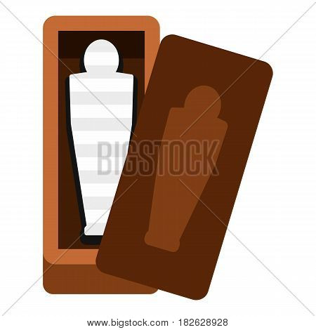 Sarcophagus of an Egyptian mummy icon flat isolated on white background vector illustration
