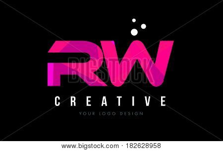 Rw R W Letter Logo With Purple Low Poly Pink Triangles Concept