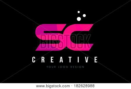 Sc S C Letter Logo With Purple Low Poly Pink Triangles Concept