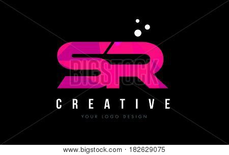 Sr S R Letter Logo With Purple Low Poly Pink Triangles Concept