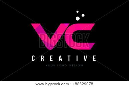 Vc V C Letter Logo With Purple Low Poly Pink Triangles Concept