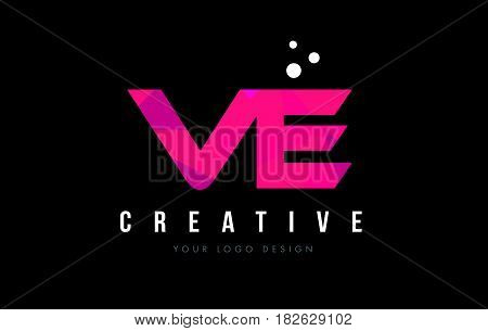 Ve V E Letter Logo With Purple Low Poly Pink Triangles Concept