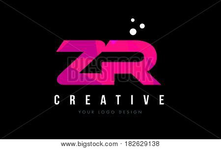 Zr Z R Letter Logo With Purple Low Poly Pink Triangles Concept