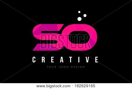 So S O Letter Logo With Purple Low Poly Pink Triangles Concept