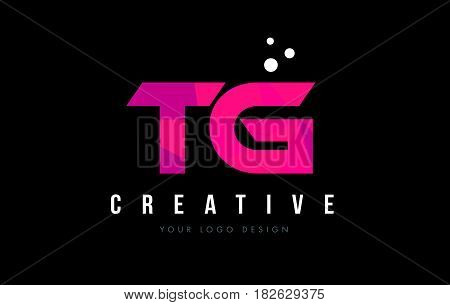 Tg T G Letter Logo With Purple Low Poly Pink Triangles Concept