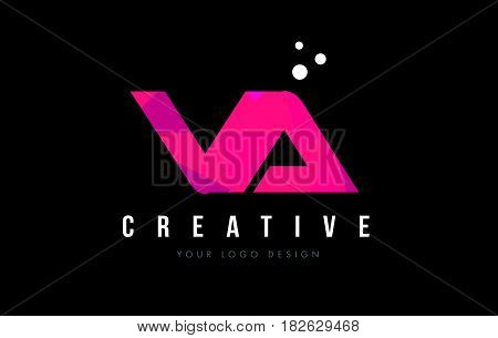 Va V A Letter Logo With Purple Low Poly Pink Triangles Concept