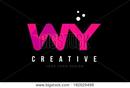 Wy W Y Letter Logo With Purple Low Poly Pink Triangles Concept