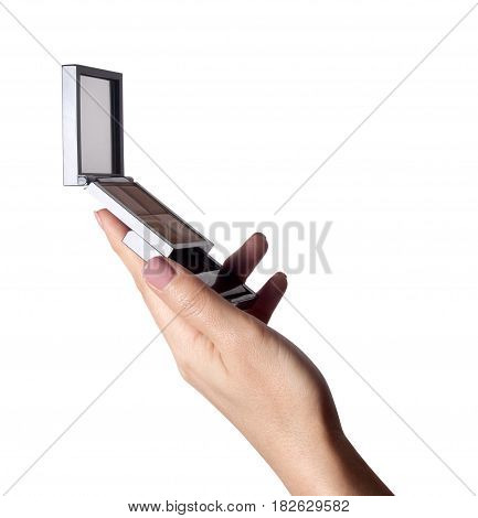 Close up of woman hands with makeup brush holding blush. Female hands holding blush box and brush for make up.