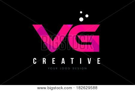 Vg V G Letter Logo With Purple Low Poly Pink Triangles Concept