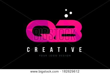 Qb Q B Letter Logo With Purple Low Poly Pink Triangles Concept