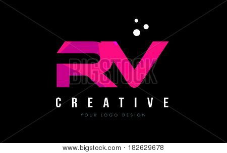 Rv R V Letter Logo With Purple Low Poly Pink Triangles Concept