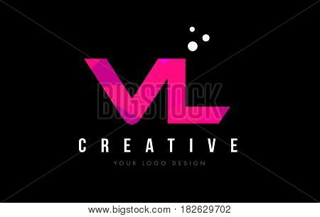 Vl V L Letter Logo With Purple Low Poly Pink Triangles Concept