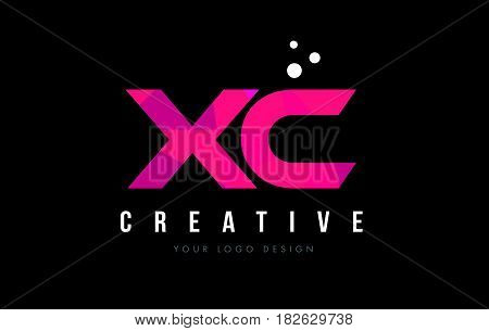 Xc X C Letter Logo With Purple Low Poly Pink Triangles Concept