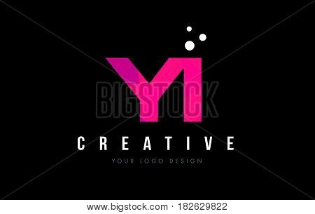 Yi Y I Letter Logo With Purple Low Poly Pink Triangles Concept