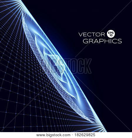 Abstract surface ripple wave in space. Signal radiation. Vector illustration.