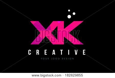 Xk X K Letter Logo With Purple Low Poly Pink Triangles Concept