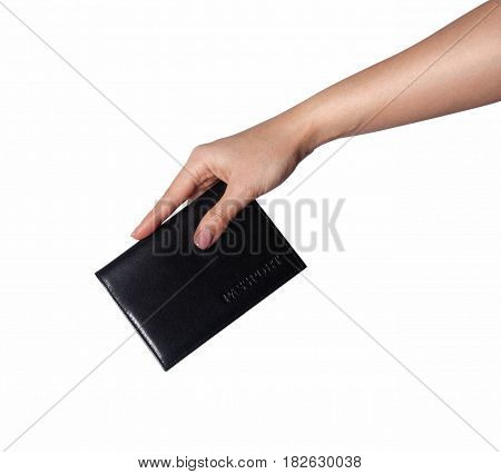 A woman hands hold a black leather wallet(case, pocket) for passport, credit card on the white desk(table) top view isolated white at the studio.