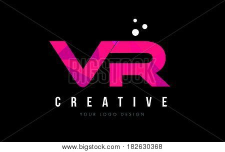 Vr V R Letter Logo With Purple Low Poly Pink Triangles Concept