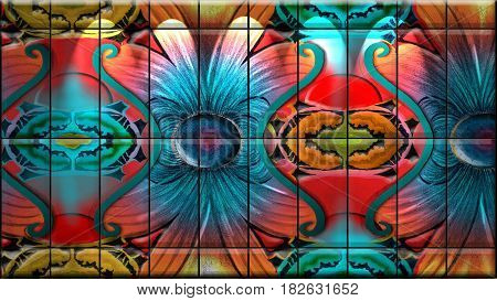 Stained Glass, Art background - 3D illustration, Abstract composed of colorful stained glass patterns