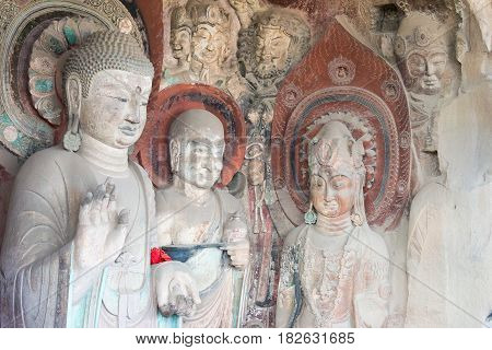 Sichuan, China - Mar 29 2015: Budda Statues At Huangze Temple. A Famous Historic Site In Guangyuan,