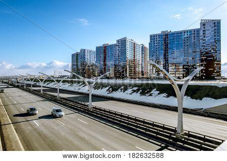 Saint-Petersburg.Russia.16 April 2017.Views of buildings on Vasilievsky island and ring highway in Saint-Petersburg