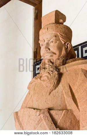 Sichuan, China - Mar 28 2015: Fei Yi Statue Of Jinghou Temple(fei Yi Tomb) At Zhaohua Ancient Town.
