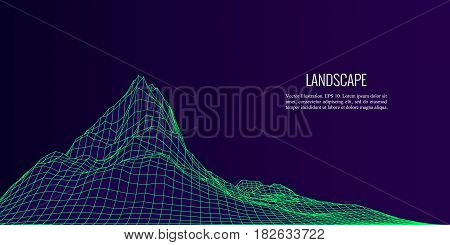 Vector abstract composition made of wireframe on dark background. Concept design of digital landscape, data array, signal.