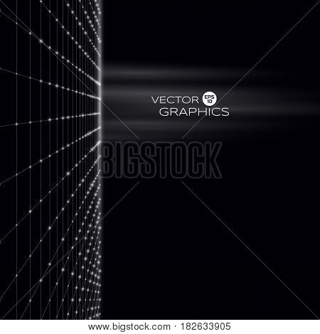 Abstract technological vector illustration consists of particles and wireframe. Object signals in space.