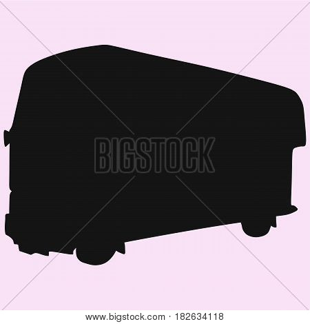 double-decker London Bus black vector silhouette isolated
