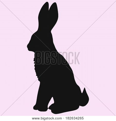 hare silhouette vector isolated on pink background
