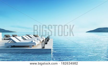 Beach living lounge & Party Lounge & Chill out Lounge  - Sundeck and Lagoon view / 3d rendering image