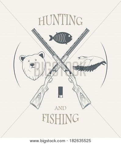 hunting and fishing - vintage style vector illustration