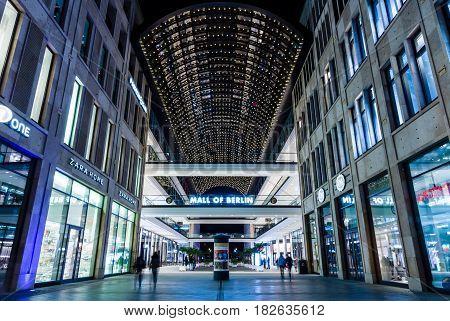 BERLIN - OCTOBER 08 2016: A new and modern shopping mall at Potsdamer Platz