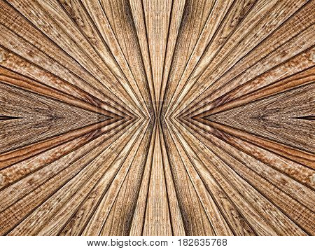 Abstract symmetry and perspective wooden texture pattern suitable as background.