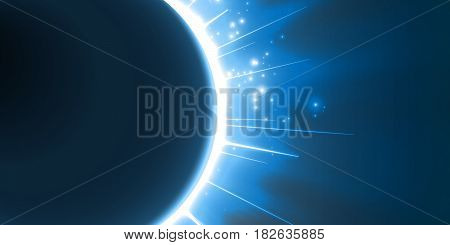 Abstract vector blue background with planet and eclipse of its star. Bright star light shine from the edges of a planet. Sparkles of stars on the background.