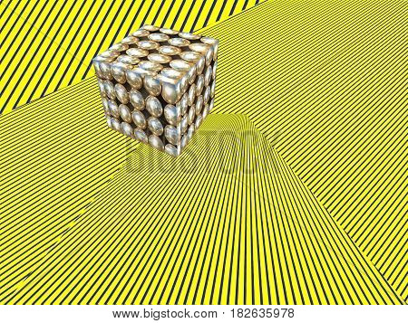 Abstract modern Isometric illustration background. Cube shape on yellow striped pattern.