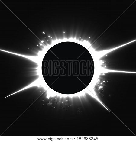 Abstract vector dark background with planet and eclipse of its star. Bright star light shine from the edges of a planet. Sparkles of stars on the background.