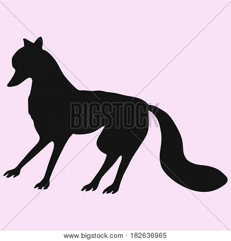 fox vector silhouette isolated on pink background