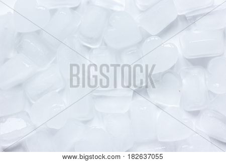 ice cubes for freeze drinks pattern on white desk background top view mock up