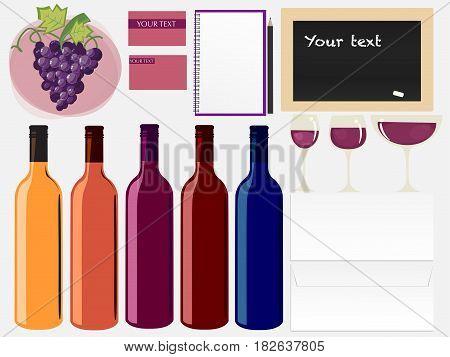 Wine Set Mock Up, Vector ESP 10
