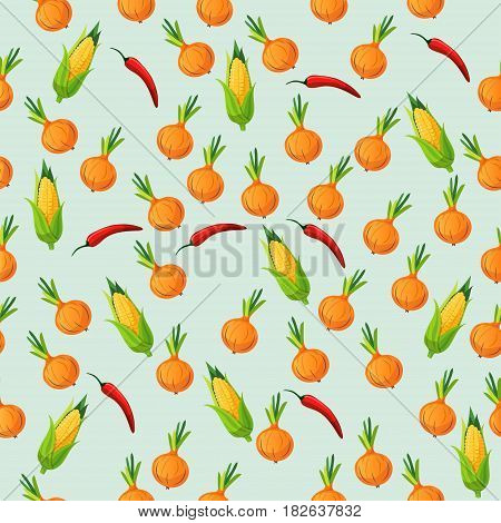 Very high quality original trendy seamless pattern with corn cob and red pepper, onion